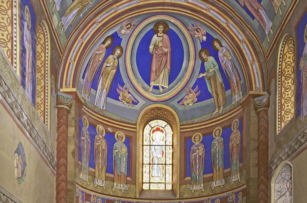 Innenansicht des Chor der Klosterkirche St. Ägidius des Klosters Kleincomburg