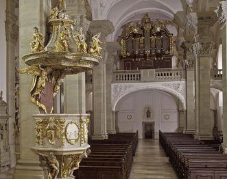 Innenansicht der Stiftskirche von Kloster Großcomburg; Foto: Staatliche Schlösser und Gärten Baden-Württemberg, Arnim Weischer