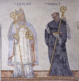 Nikolaus und Benedikt, Fresko in der Wintersakristei des Klosters Großcomburg