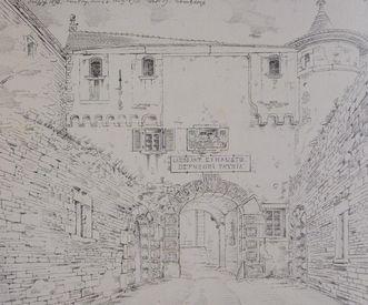 Torhaus der Comburg, Zeichnung von Johann Friedrich Reik aus dem Jahre 1893, Zeichnung als Dauerleihgabe des Landesmuseums Stuttgart im Hällisch Fränkischen Museum
