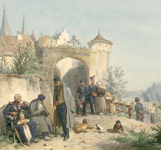 Invalidenstift Großcomburg, Das Frühjahr, Aquarell von Reinhold Braun von 1863; Foto: Landesbibliothek Württemberg