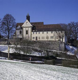 Außenansicht der Klosterkirche St. Ägidius des Klosters Kleincomburg