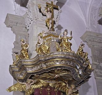 Schalldeckel der Kanzel in der Stiftskirche St. Nikolaus, nach 1713, Großcomburg; Foto: Staatliche Schlösser und Gärten Baden-Württemberg, Arnim Weischer