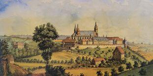 Die Comburg, Aquarell von Johann Friedrich Reik aus dem Jahre 1887, Bild als Dauerleihgabe des Landesmuseums Stuttgart im Hällisch Fränkischen Museum