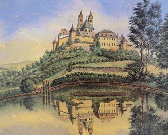 Die Comburg mit Klostersee, Aquarell von Johann Friedrich Reik aus dem Jahre 1887, Bild als Dauerleihgabe des Landesmuseums Stuttgart im Hällisch Fränkischen Museum