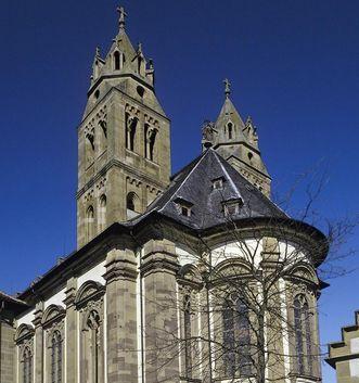 Außenansicht der Stiftskirche von Kloster Großcomburg; Foto: Staatliche Schlösser und Gärten Baden-Württemberg, Arnim Weischer