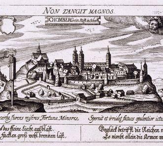 """Kloster Klein- und Kloster Großcomburg auf einem Kupferstich von 1630 aus """"Politisches Schatzkästlein"""" von Daniel Meissner"""