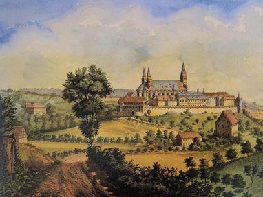 Kloster Großcomburg, Zeichnung von Kloster und Fruchtkasten
