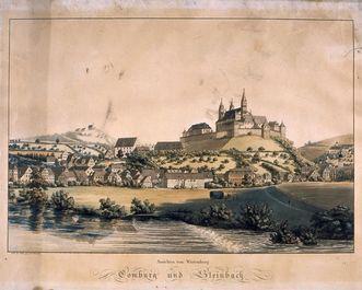 Lithografie des Klosters Großcomburg, nach Gabriel, um 1840
